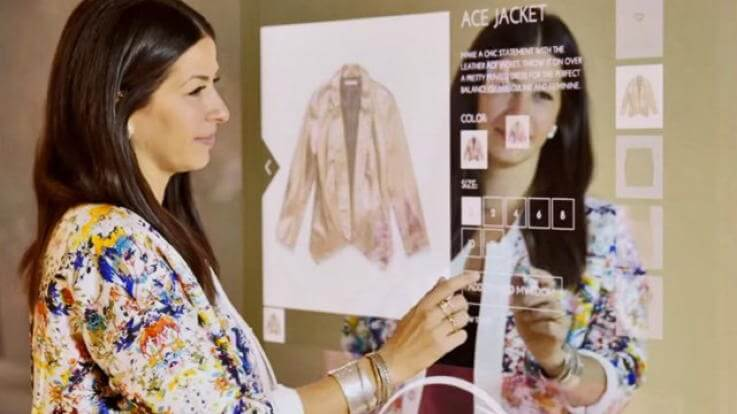 An example of a smart mirror used to engage a customer