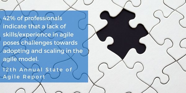 42 respondents indicated that a lack of skills2Fexperience in agile posed challenges towards adopting and scaling in the agile model.