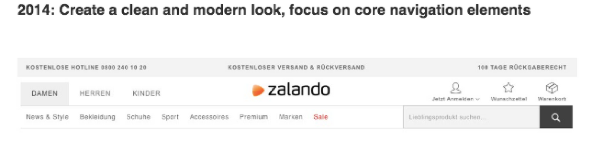Zalando's website banner in 2014