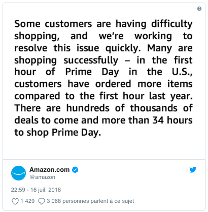 Amazon crashed during the first hour of Prime Day
