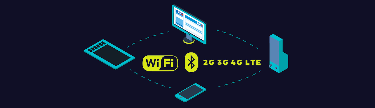 IoT's connect via wifi, bluetooth, and local cellular networks