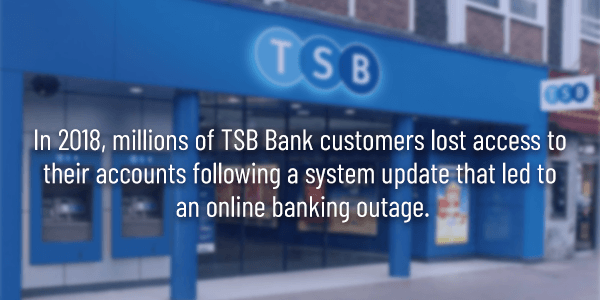 Example of TSB Bank bug after a system update