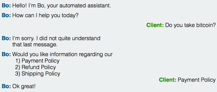 testing the ability of a chatbot to respond properly to a user's question or request.