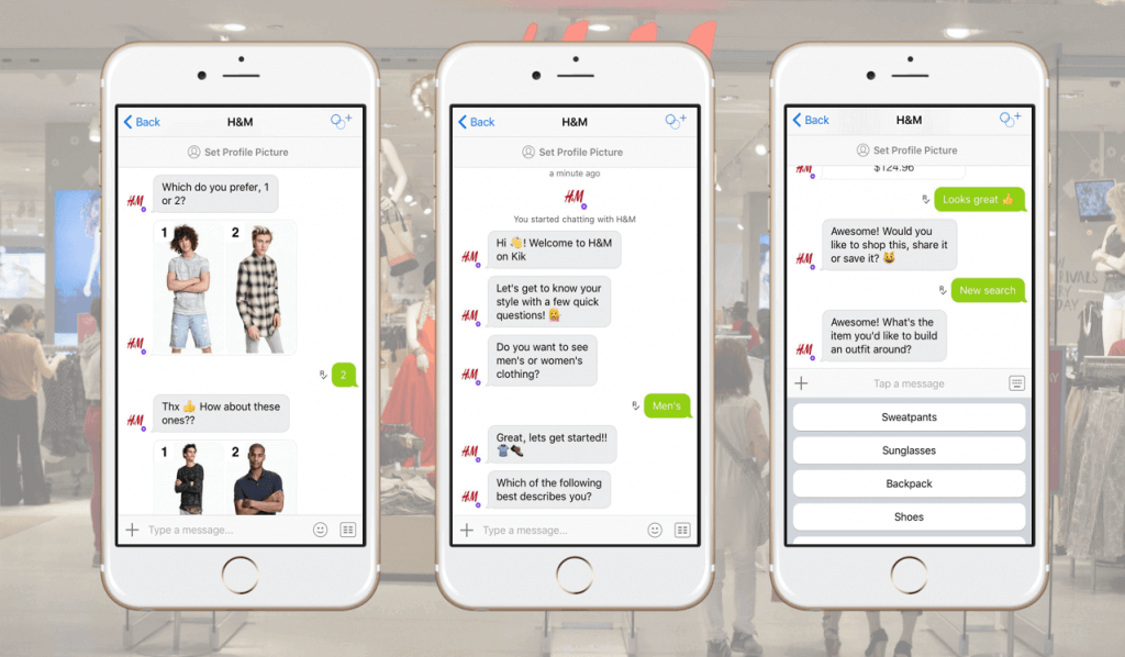 An example of H&M's chatbot
