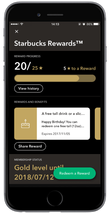 With the Starbuck's app, customers can track their reward points, complete their order,  receive discounts, etc.